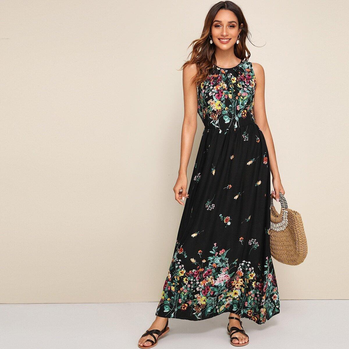 SHEIN / Kleid mit Band hinten und Blumen Muster