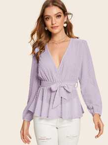 Swiss Dot Surplice Wrap Belted Blouse