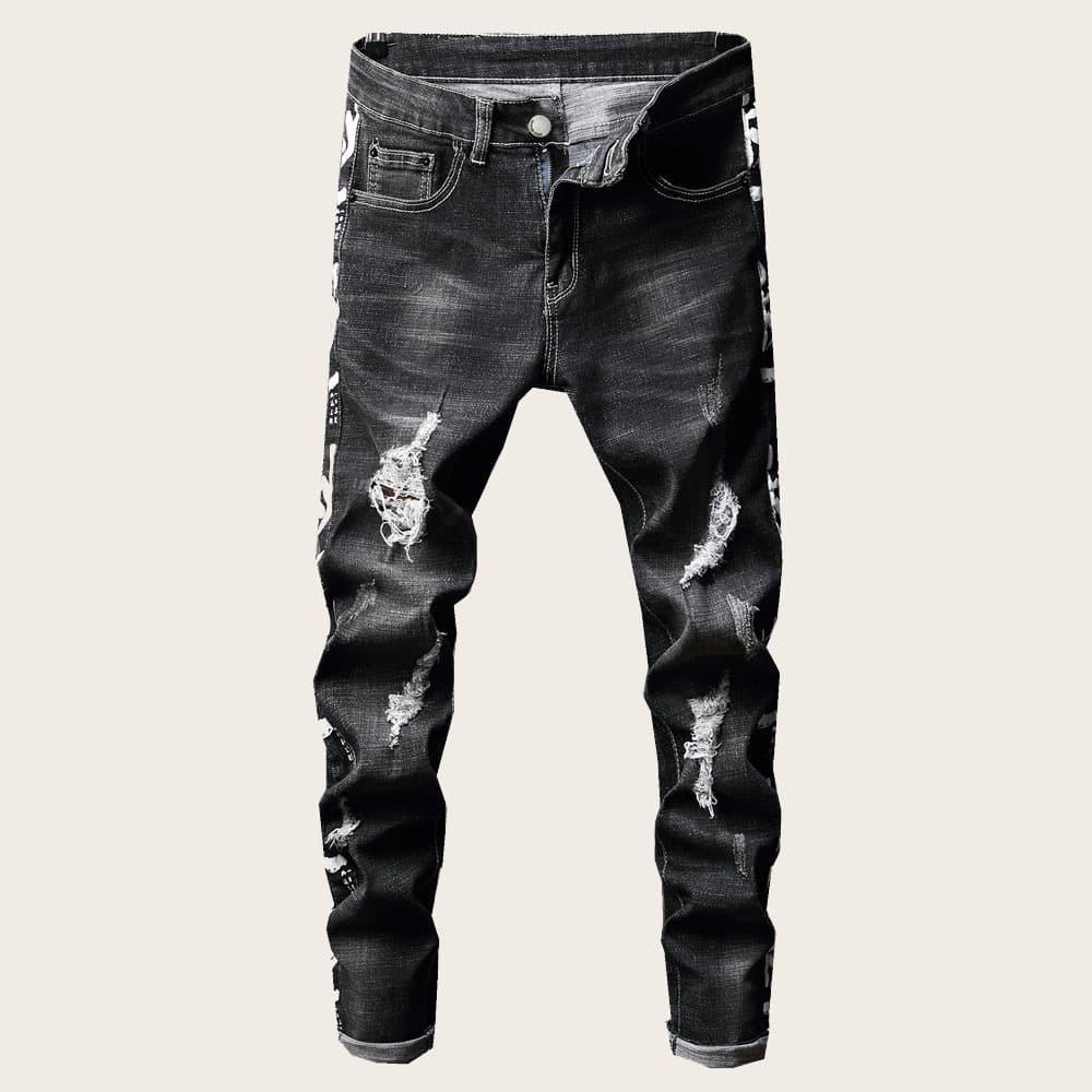 Zwart Casual Slogan Heren Jeans Gescheurd