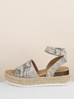 Snakeskin Buckled Strap Jute Trim Flatform Sandals