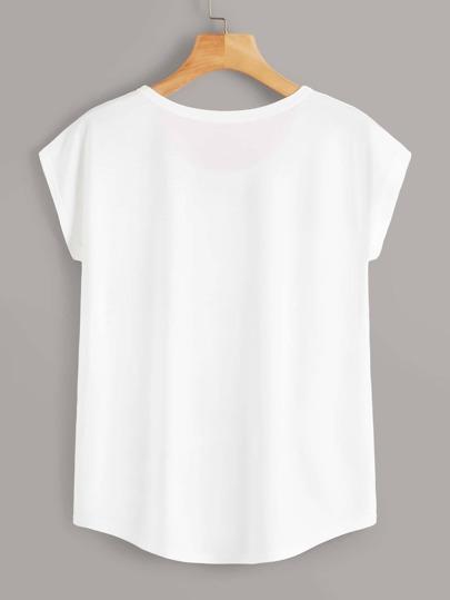 Фото 2 - Трикотажная футболка с узлом от SheIn черного цвета