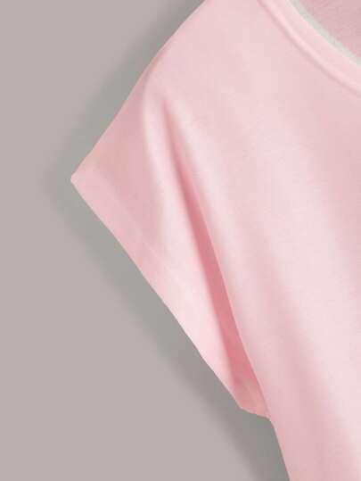 Фото 4 - Трикотажная футболка с узлом от SheIn черного цвета