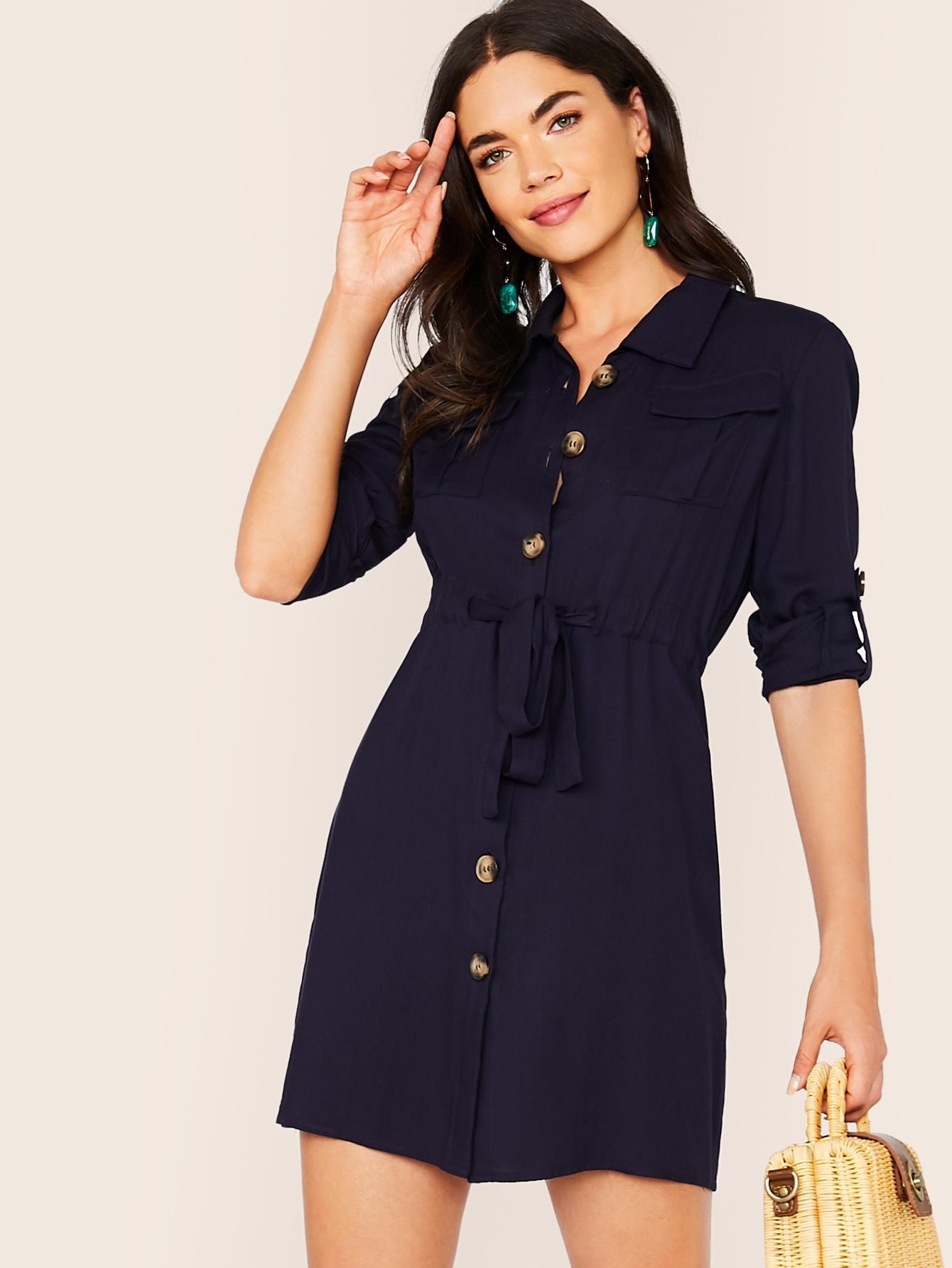 Фото - Платье-рубашка с оригинальным рукавом и карманом от SheIn цвет тёмно-синие