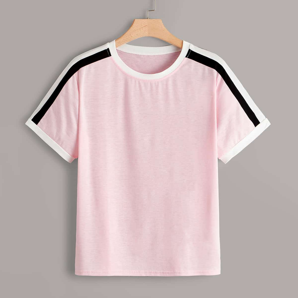 Roze  Casual Gestreept Grote maten T-shirts
