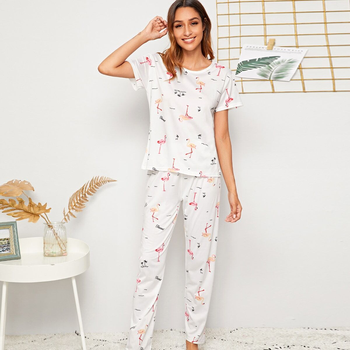 Wit Casual Spotprent Lounge kleding