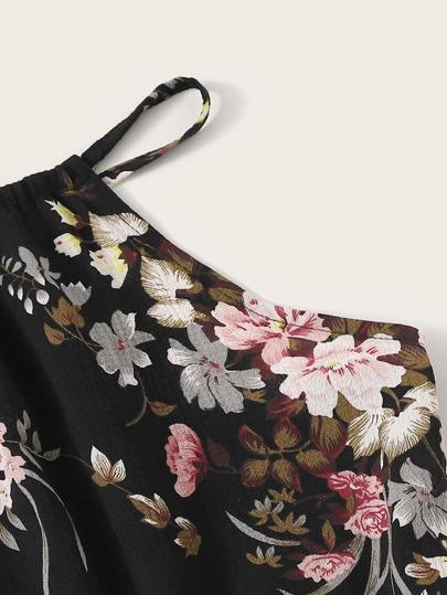 Фото 3 - Леггинсы с эластичной талией и сетчатыми вставками от SheIn черного цвета