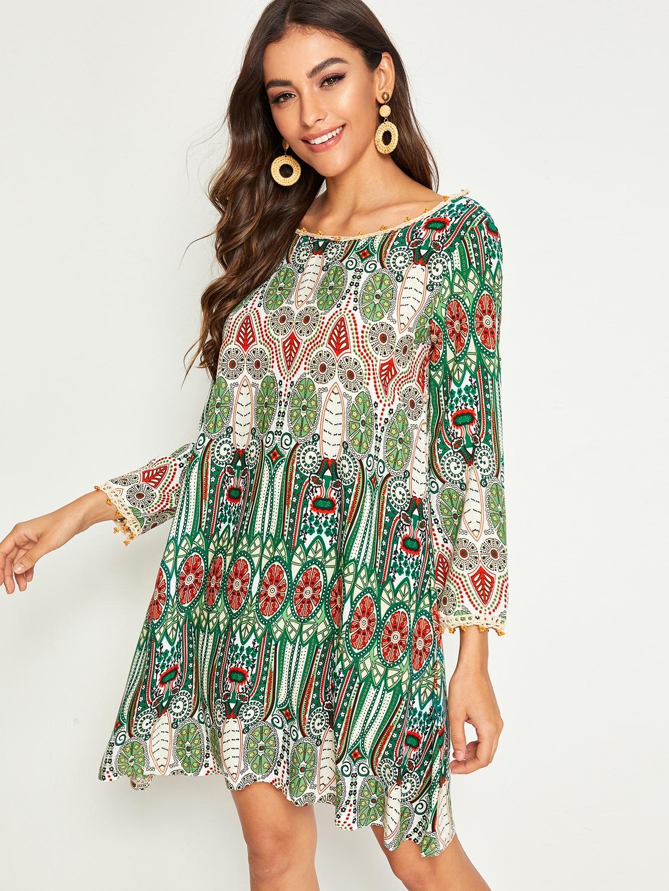 Фото - Платье с племенным принтом и v-образной спинкой от SheIn цвет многоцветный