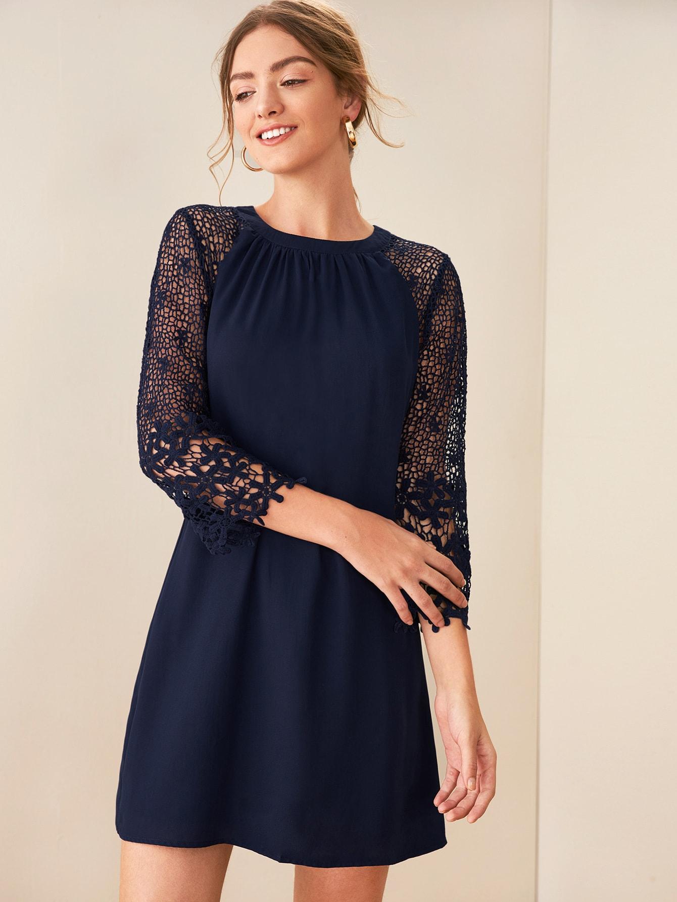 Фото - Стильное платье с кружевным рукавом от SheIn цвет тёмно-синие