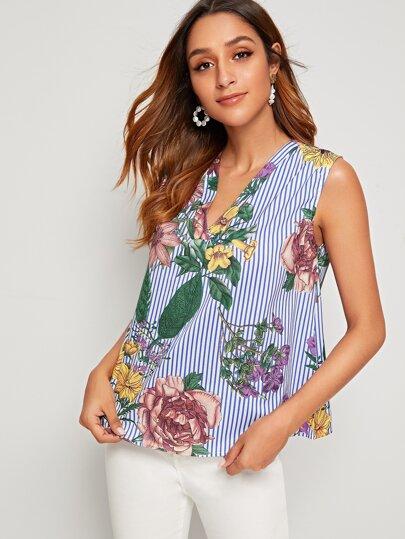 Фото 9 - Блузу в полоску размера плюс с v-образным вырезом от SheIn цвет чёрнобелые