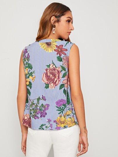 Фото 8 - Блузу в полоску размера плюс с v-образным вырезом от SheIn цвет чёрнобелые