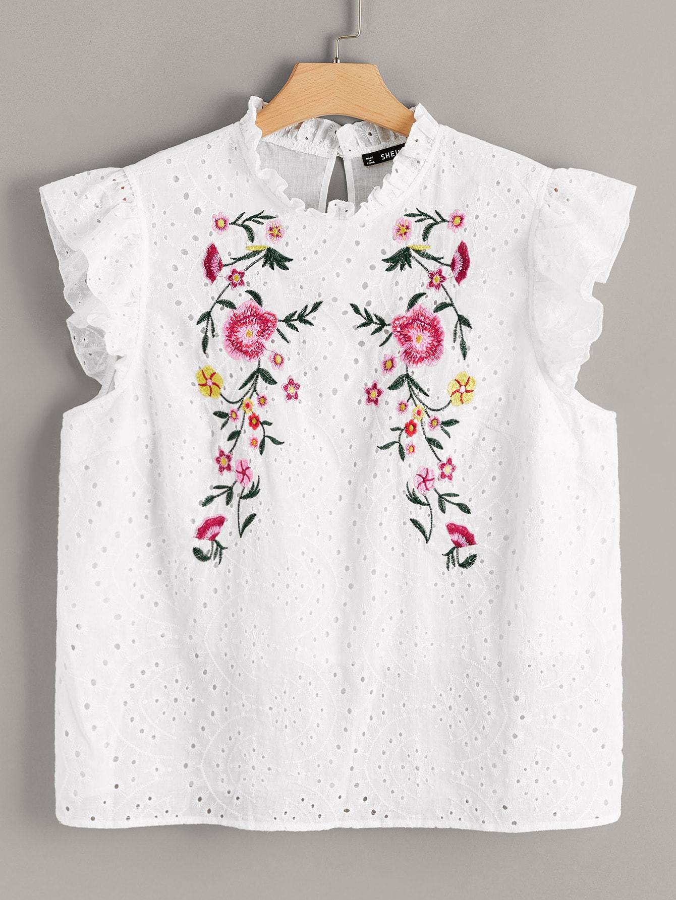 Фото - Топ с вышивкой, оборкой и воротником-стойка размера плюс от SheIn цвет белые