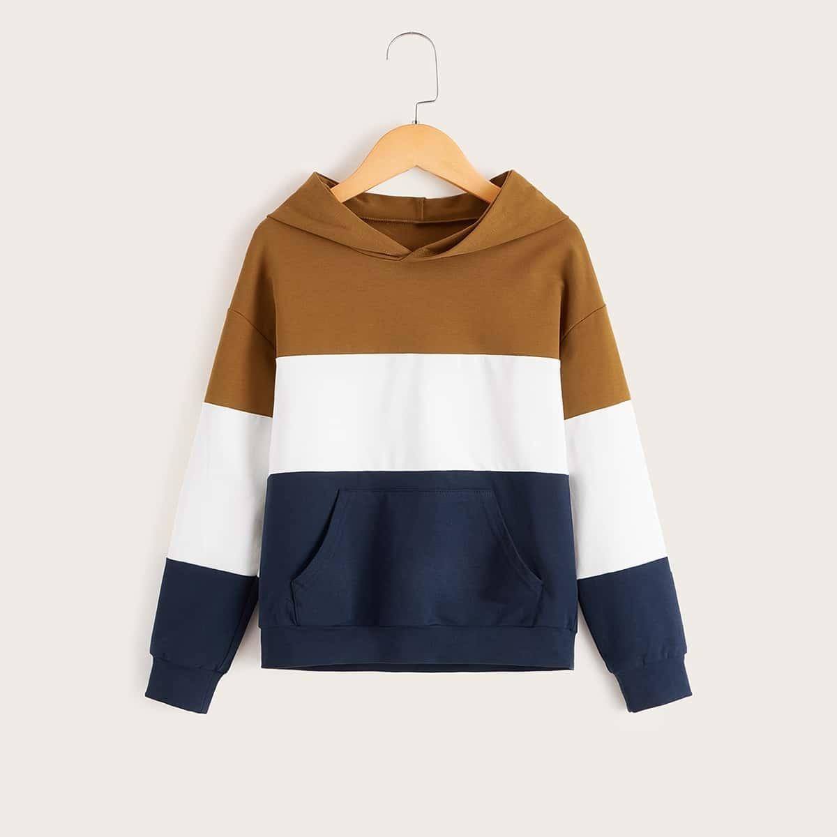 Colourblock hoodie met zak voor jongens