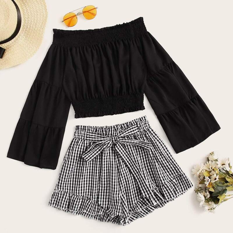 Solid Shirred Bardot Top & Gingham Belted Shorts, Black and white