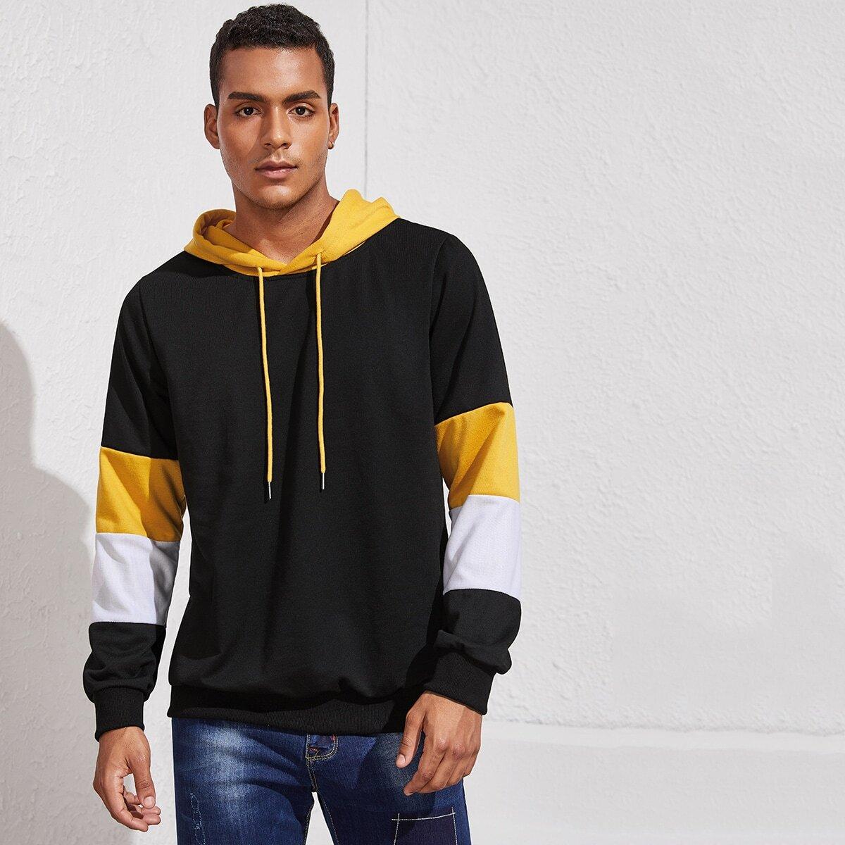 Zwart Sporten Kleurblok Sweatshirts voor heren
