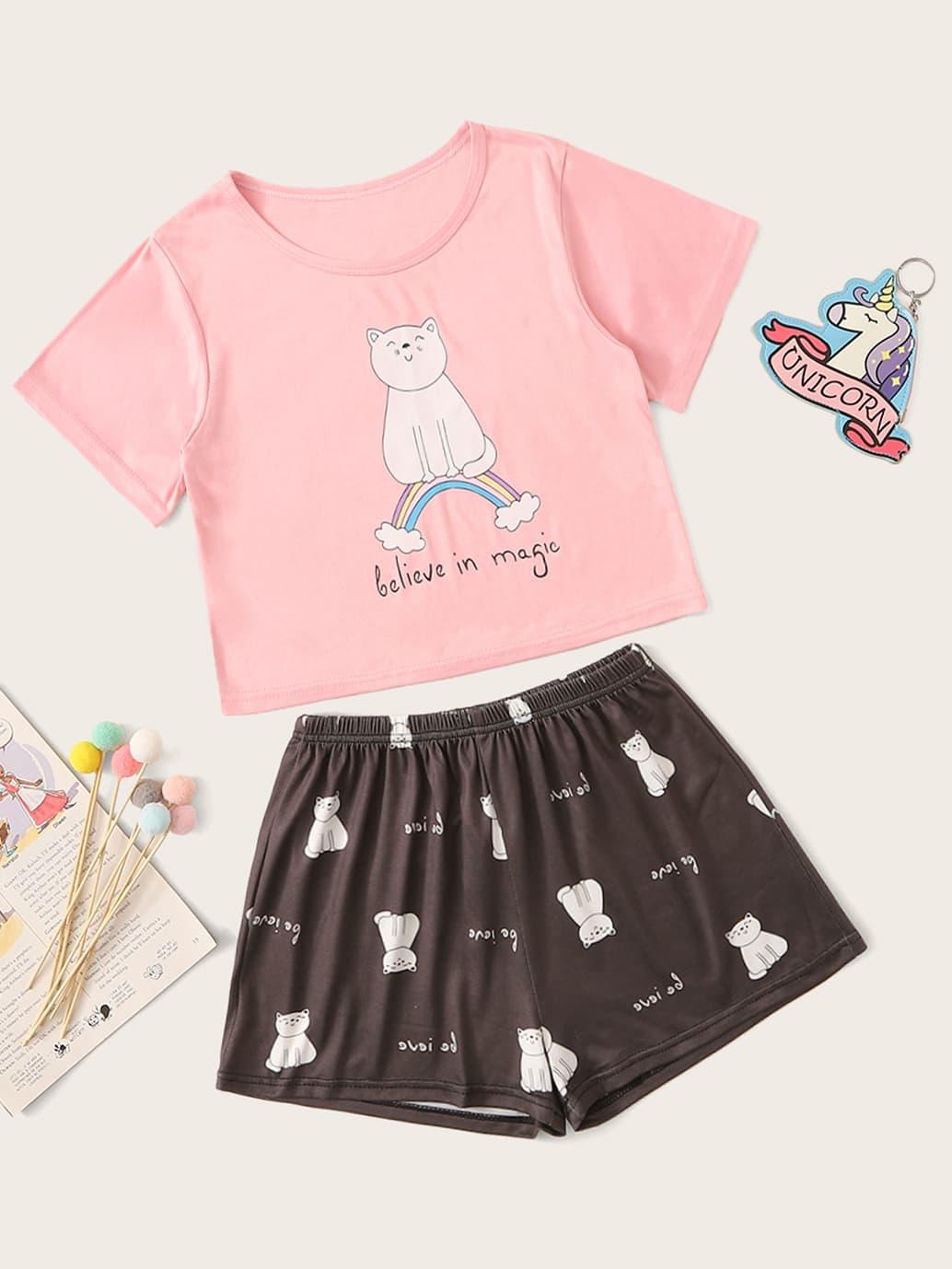 Фото - Пижама с текстовым и графическим принтом для девочек от SheIn цвет многоцветный