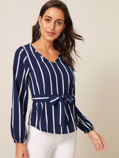 SheIn / V-Neck Striped Belted Blouse