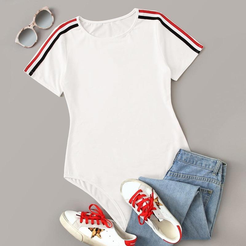 Stripe Tape Short Sleeve Skinny Bodysuit, White