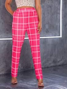Plaid   Neon   Pink   Pant