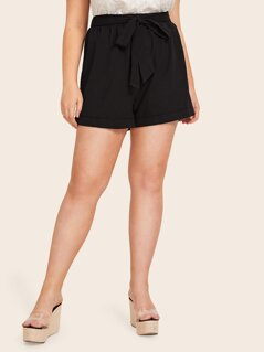 Plus Knot Front Solid Shorts