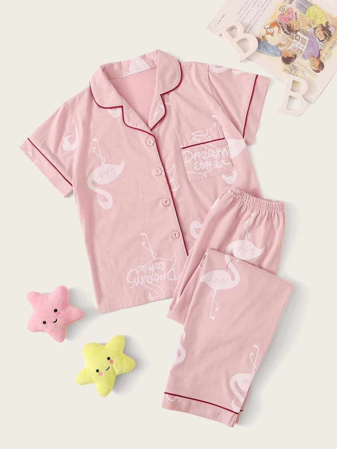 Фото - Пижама с графическим и текстовым принтом для девочек от SheIn цвет розовые