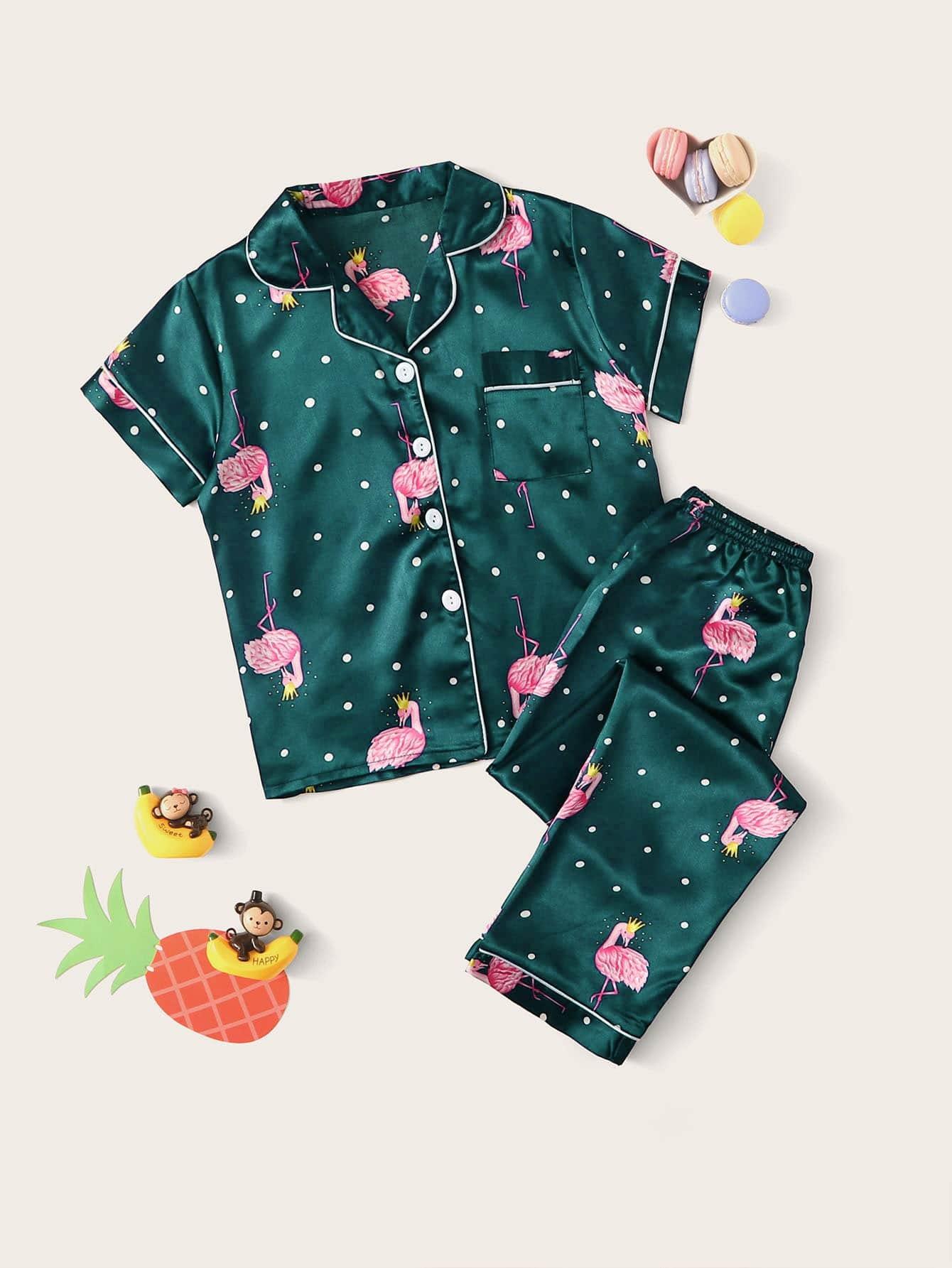 Фото - Атласная пижама в горошек с графическим принтом для девочек от SheIn цвет зелёные
