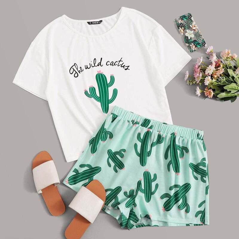 Slogan and Cactus Print Tee and Shorts PJ Set, Multicolor