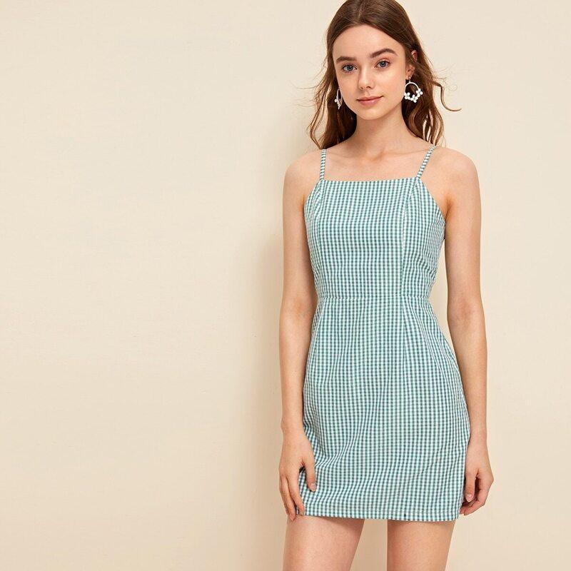 Gingham Zip Back Cami Dress, Green