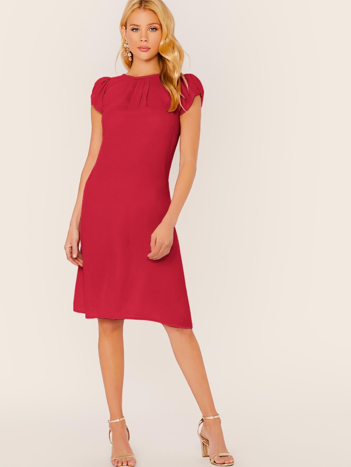 Solid Petal Sleeve Pleated Detail Dress