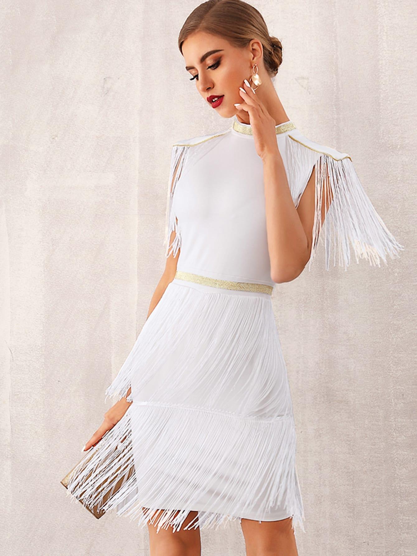 Фото - Однотонное платье с оригинальной отделкой от SheIn цвет бургундия