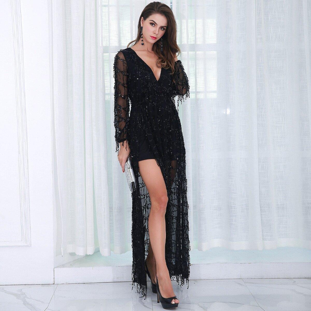 сетчатое платье с глубоким вырезом и блестками Image