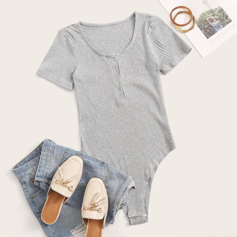 Rib Knit Half Placket Bodysuit, Grey