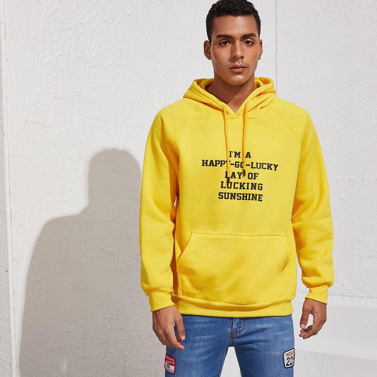 Geel Casual Zak Slogan Sweatshirts voor heren