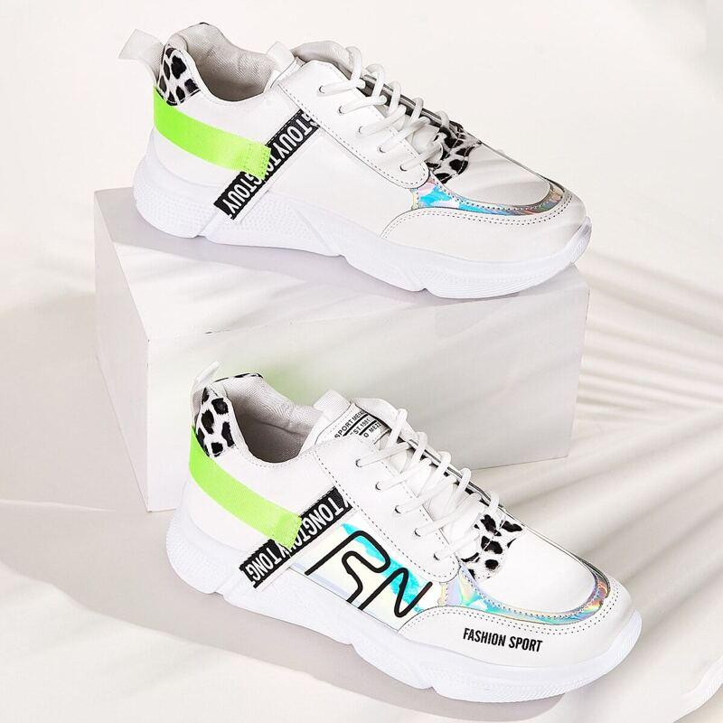 Lace-up Front Leopard Print Detail Sneakers, Multicolor