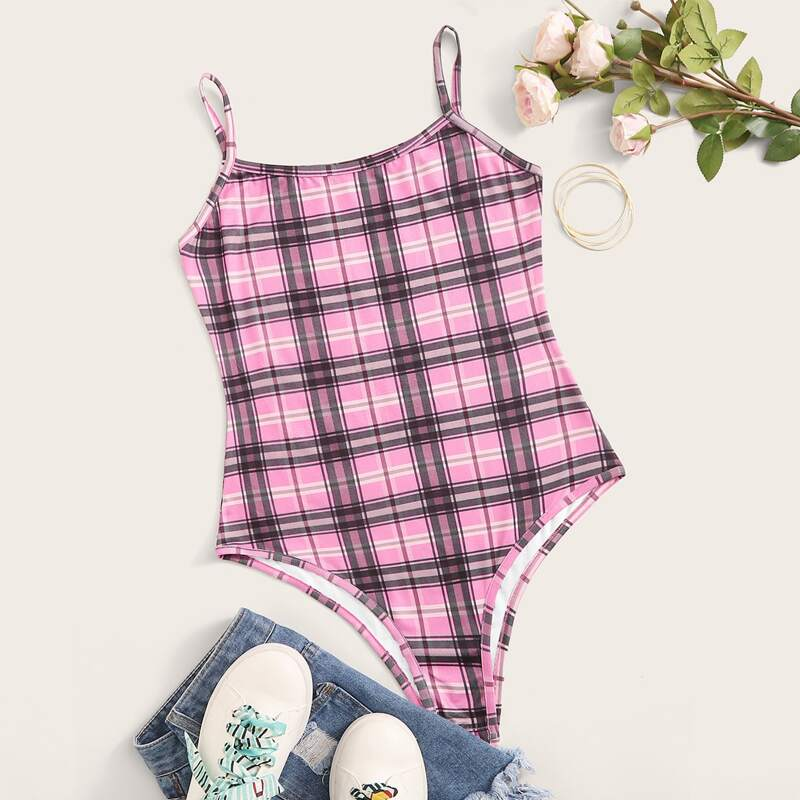 Plaid Skinny Cami Bodysuit, Pink
