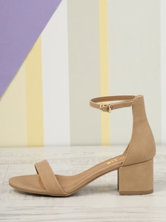 Open Toe Low Block Heel Sandals