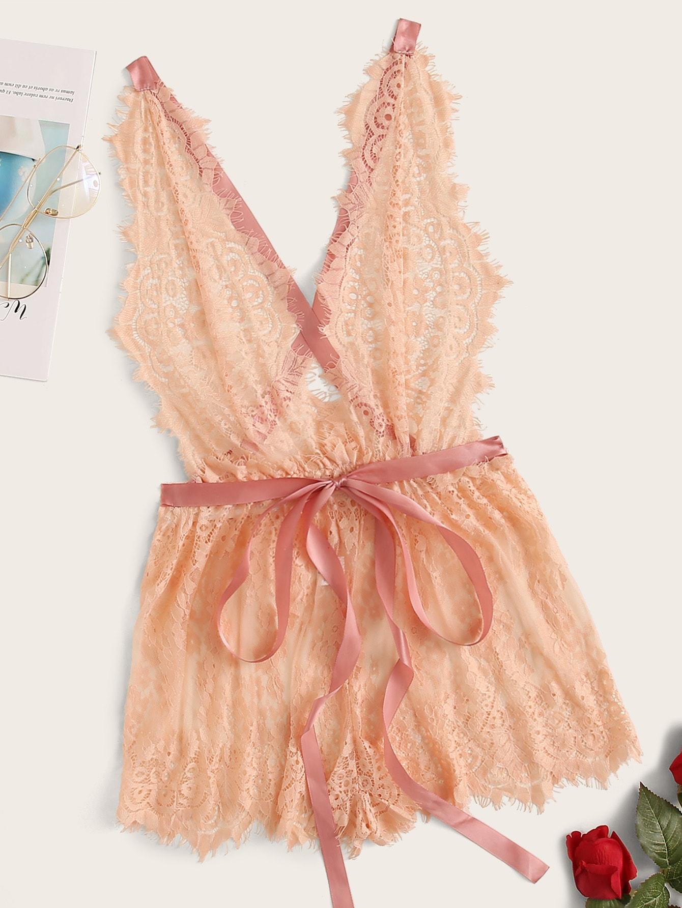 Сексуальные Ровный цвет Кружевное боди Розовый Сексуальное женское белье