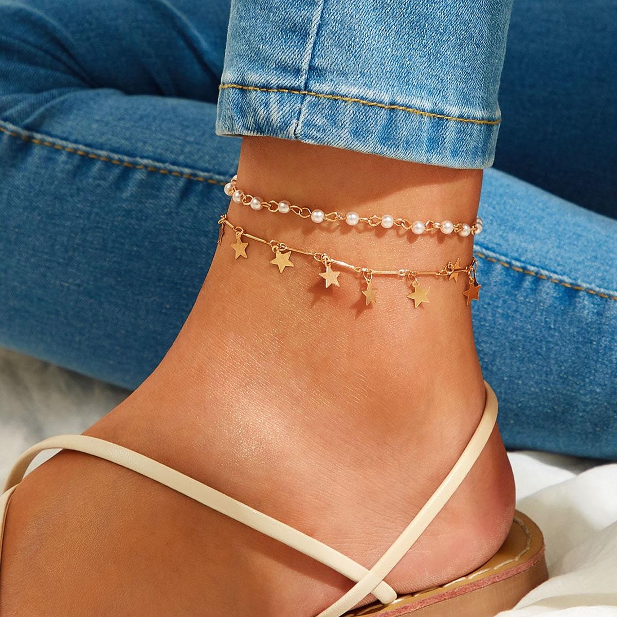 SHEIN / Fußkette mit Stern Anhänger & Kunstperlen Dekor 2 Stücke