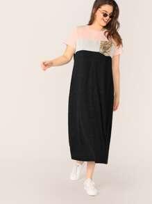 T-Shirt   Sequin   Dress   Plus