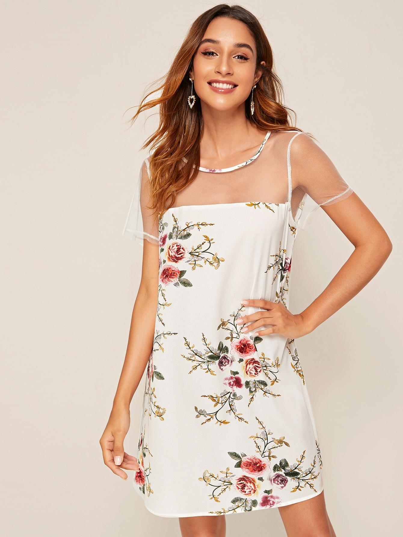 Платье с цветочным принтом и сеткой