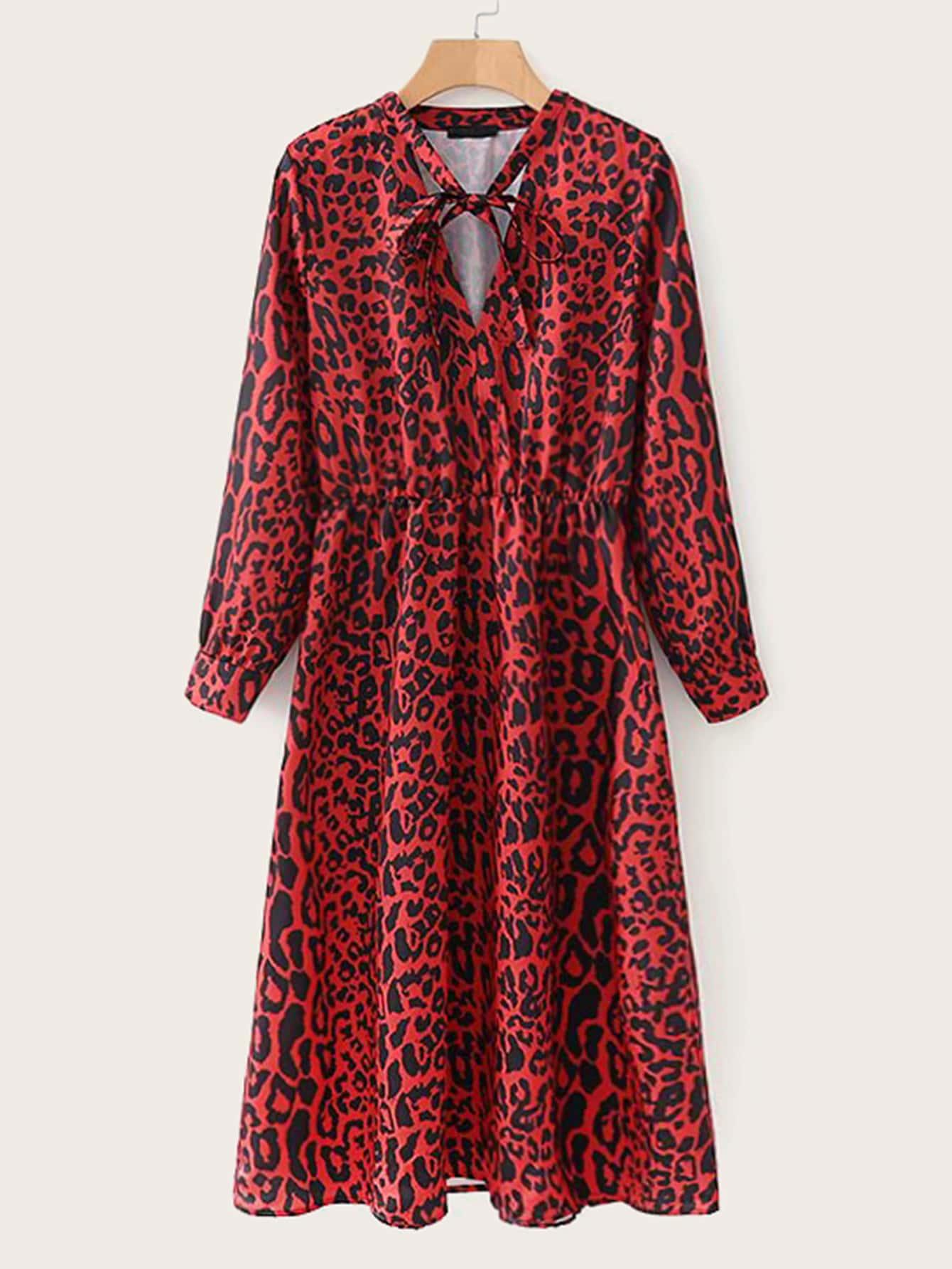 Фото - Стильное платье в горошек с узлом от SheIn цвет синие