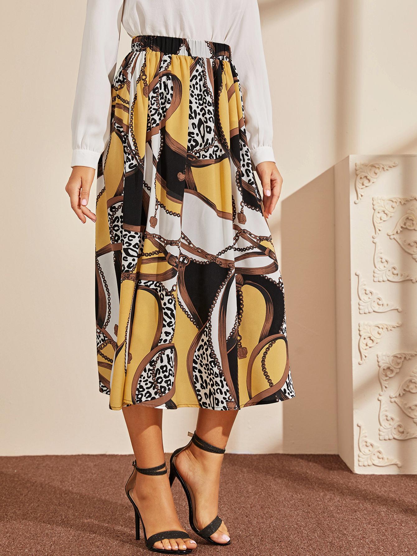 Леопардовая юбка с графическим принтом на резинке