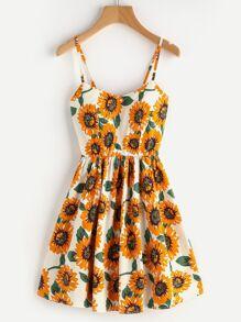 Sunflower Print Criss Cross Back Cami Sundress