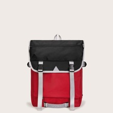 Colo-block Release Buckle Flap Backpack