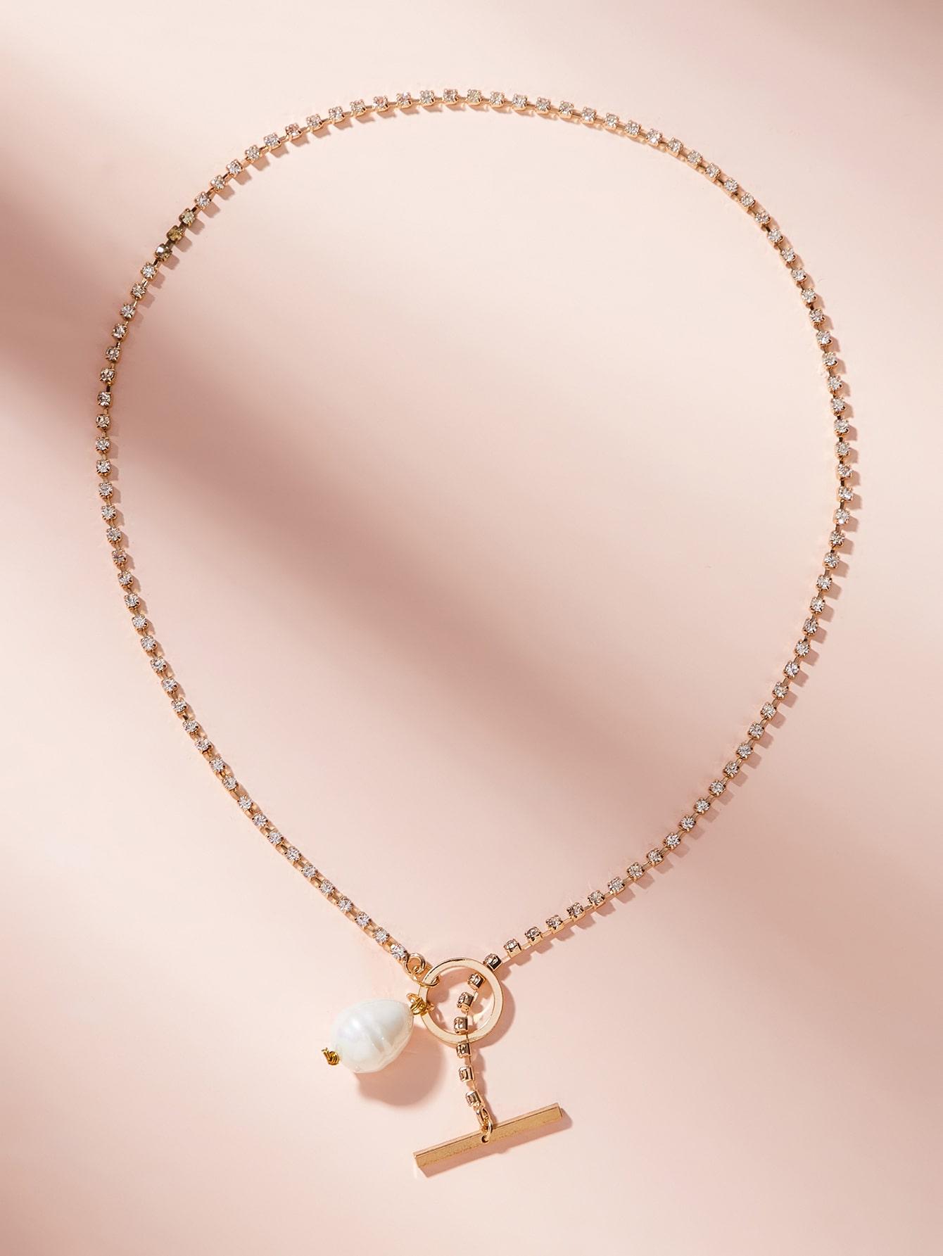 Фото - Ожерелье-цепочка из бруса и искусственного жемчуга 1шт. от SheIn цвет золотые