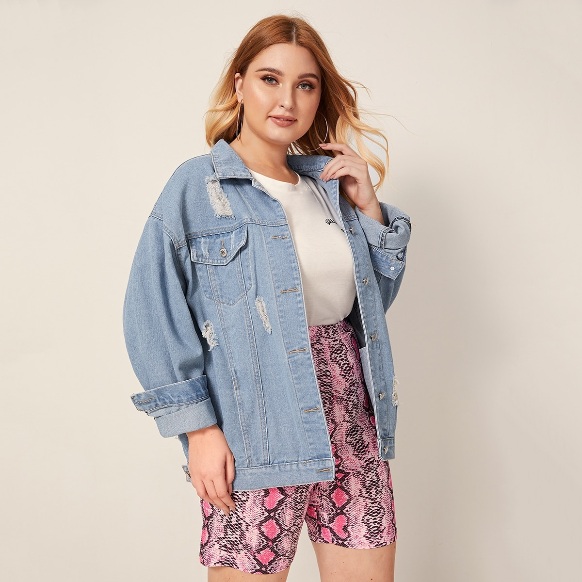 Blauw Casual Vlak Grote maten: jeansjassen Gescheurd