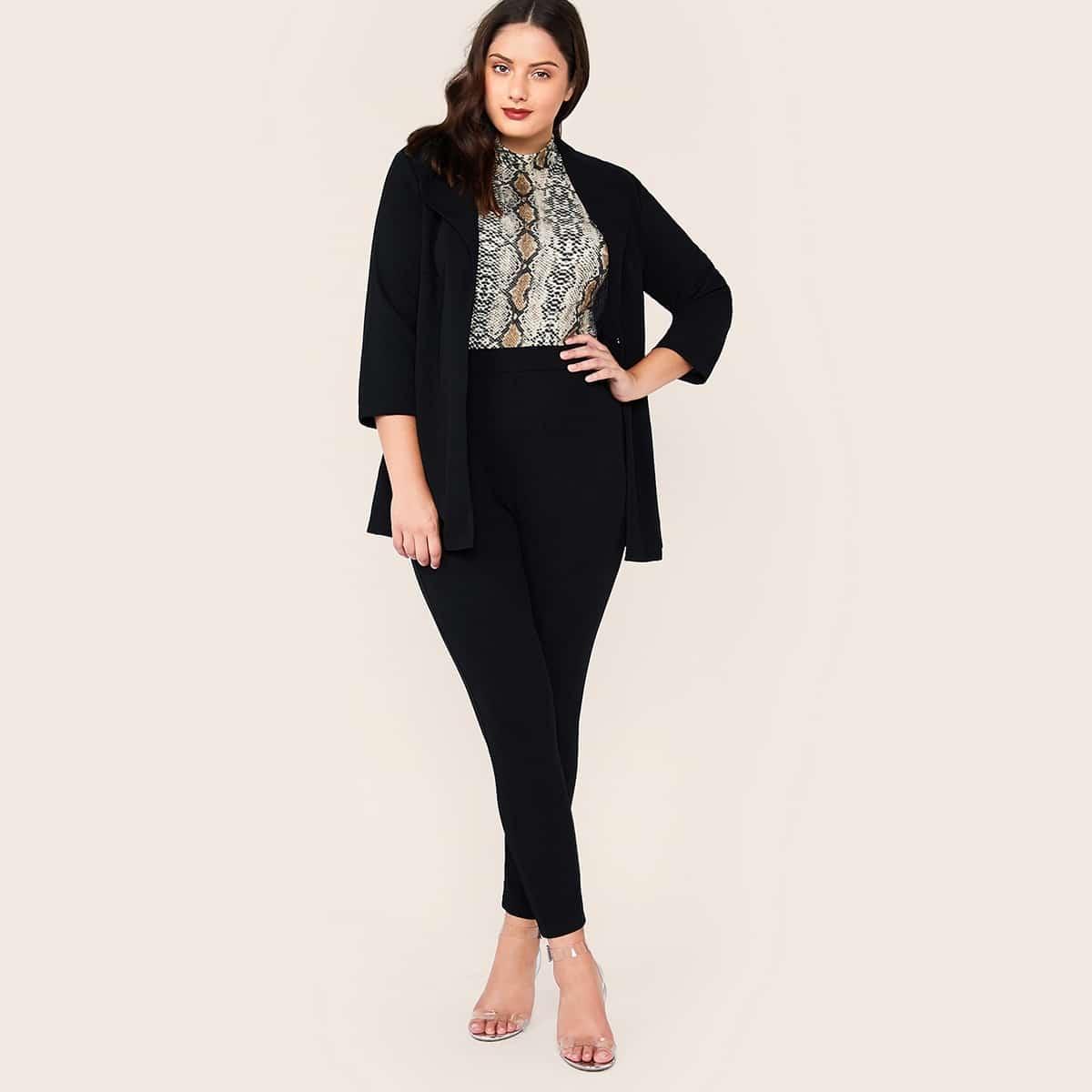 Пиджак с оригинальным воротником и брюки размера плюс от SHEIN