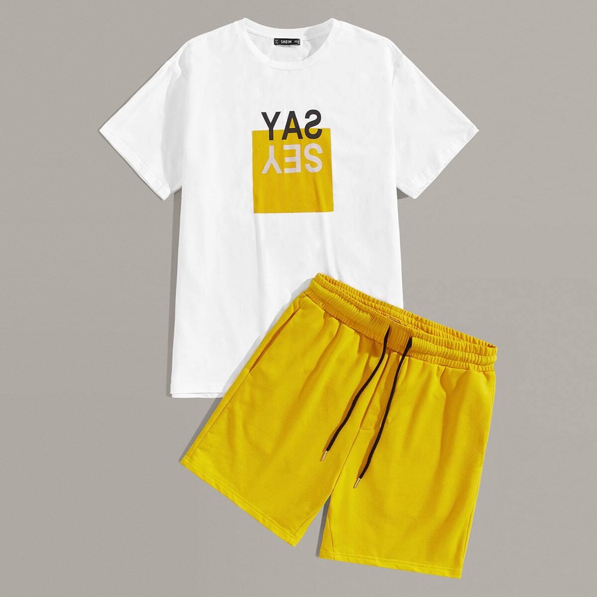 Мужские футболка с текстовым принтом и шорты с карманом от SHEIN