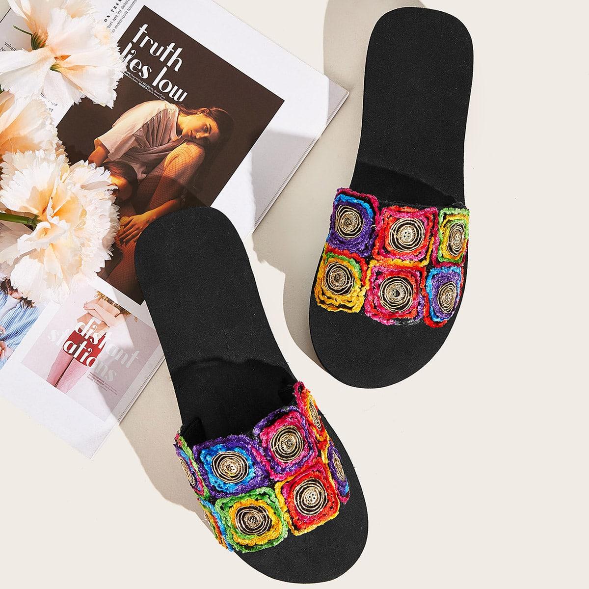 Тапочки с открытым носком и блестками от SHEIN