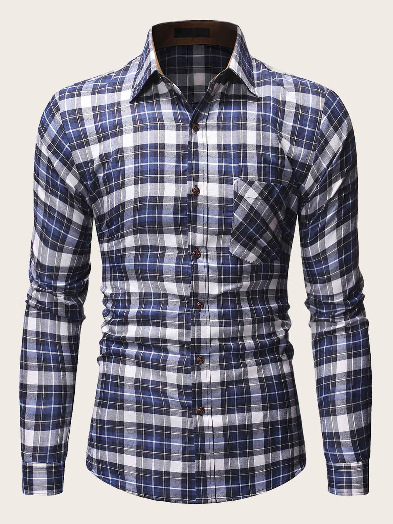 Фото - Мужская рубашка с карманом в клетку от SheIn синего цвета