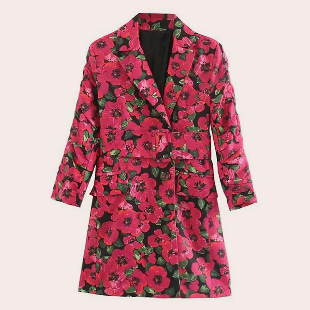 Цветочное платье с поясом от SHEIN